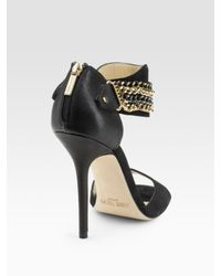 Jimmy Choo - Black Jenna Chain Ankle-wrap Suede & Leather Sandals - Lyst