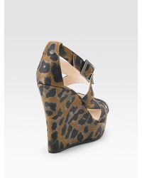 Jimmy Choo | Black Penny Leopard-print Wedge Sandals | Lyst