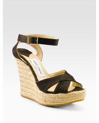 Jimmy Choo | Brown Phoenix Snake-embossed Espadrilles | Lyst