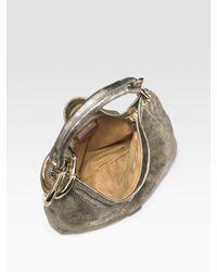 Jimmy Choo - Sky Perforated Metallic Leather Hobo - Lyst
