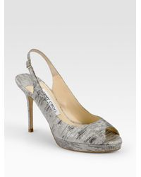 Jimmy Choo | Gray Nova Snake-printed Leather Peep-toe Slingbacks | Lyst