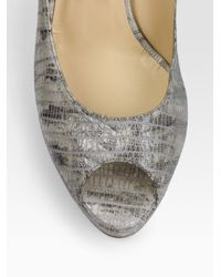 Jimmy Choo - Gray Nova Snake-printed Leather Peep-toe Slingbacks - Lyst