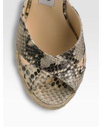 Jimmy Choo - Natural Snake-print Phyllis Wedge Espadrilles - Lyst