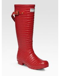 HUNTER | Red Welly Rubber Boots | Lyst