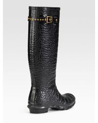 HUNTER - Red Welly Rubber Boots - Lyst