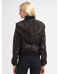 Joie - Black Hooded Leather Jacket - Lyst