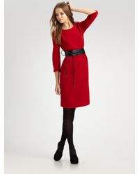 Lafayette 148 New York | Red Wool Crepe Dress | Lyst