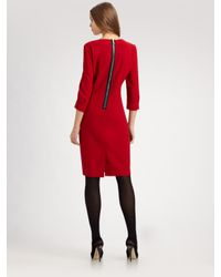 Lafayette 148 New York - Red Wool Crepe Dress - Lyst
