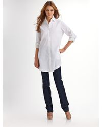 Lafayette 148 New York - White Stretch Cotton Tunic Blouse - Lyst
