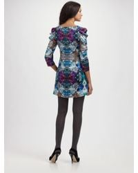 Leifsdottir - Blue Diamond Crush Digital-printed Silk Dress - Lyst