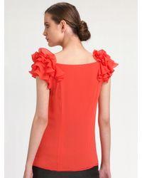 Leifsdottir - Orange Silk Ruffle-sleeve Blouse - Lyst