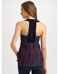 M Missoni | Purple Pointelle Striped Halter Top | Lyst