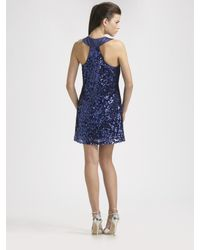 Badgley Mischka - Blue Sleeveless Sequined Mini Dress - Lyst