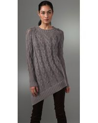 McQ | Gray Asymmetric Cable-knit Sweater | Lyst