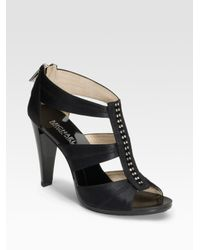MICHAEL Michael Kors - Black Berkley Satin Rhinestone Sandals - Lyst