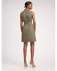 MICHAEL Michael Kors   Green Belted Trench Dress   Lyst