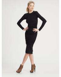 Michael Kors | Black Ruched Long Sleeve Dress | Lyst