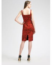 Michael Kors - Red Sleeveless Rose-print Dress - Lyst
