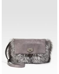 Michael Kors | Metallic Fox Fur Shoulder Bag | Lyst