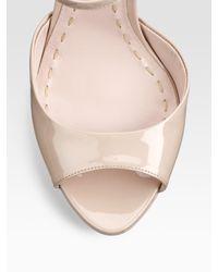 Miu Miu - Natural Patent Leather Sandals - Lyst