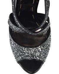Miu Miu | Metallic Glitter-embellished Platform Sandals | Lyst