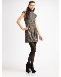Nanette Lepore | Gray Foiled Again Floral Brocade Turtleneck Dress | Lyst