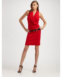 Ralph Lauren Black Label | Red Cable Cashmere Wrap Front Dress | Lyst