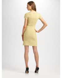 RED Valentino - Yellow Cotton Tweed Dress with Asymmetrical Bow - Lyst