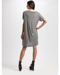 T By Alexander Wang | Gray Pocket Tee Dress | Lyst