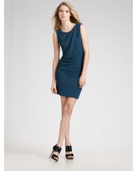 Theory | Blue One Shoulder Dotted Vivien Mini Dress | Lyst