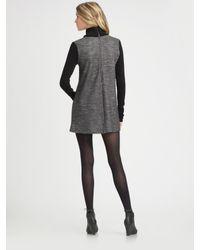 Theory - Gray Jacquard Turtleneck Dress - Lyst