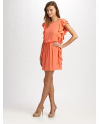 Tibi | Orange Ruffle Dress | Lyst