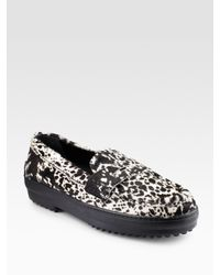 Tod's | White Gommini Leopard-print Pony Hair Loafers | Lyst