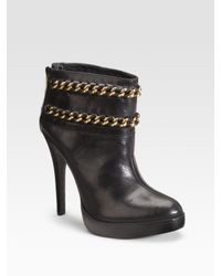 Tory Burch | Black Lysa Chain Ankle Boots | Lyst