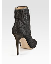 Valentino | Gray Lace Open-toe Ankle Boots | Lyst