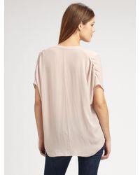 Vince - Pink Silk V-neck Blouse - Lyst