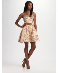 Z Spoke by Zac Posen | Black Floral-print Corset Dress | Lyst
