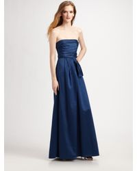 BCBGMAXAZRIA | Blue Cotton Sateen Strapless Gown | Lyst