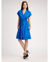 Brian Reyes | Blue V-neck Belted Dress | Lyst