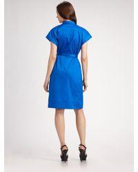Brian Reyes - Blue V-neck Belted Dress - Lyst