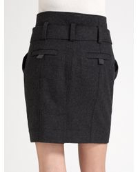 Burberry Brit - Gray Wool Flannel Skirt - Lyst