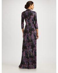 Catherine Malandrino - Purple Print Silk Jersey Maxi Dress - Lyst