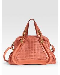 Chloé - Pink Paraty Medium Perforated Leather Tote - Lyst