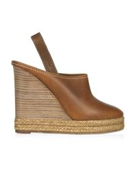 Chloé - Brown Leather and Raffia Clogs - Lyst