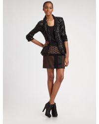 DKNY - Black Silk-georgette Sequined Blazer - Lyst