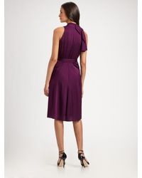 Elie Tahari   Purple Stretch Silk Georgette Dress   Lyst