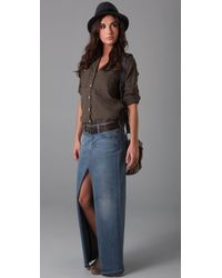 Genetic Denim | Blue Chloe Open Front Long Skirt | Lyst