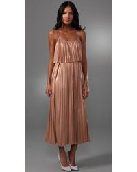 Halston | Pink Pleated Cocktail Dress | Lyst