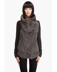 Helmut Lang | Gray Rabbit Fur Jacket | Lyst