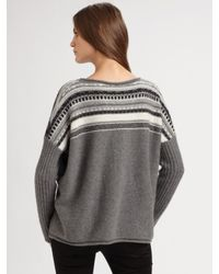 James Perse - Gray Fair Isle Cashmere Sweater - Lyst